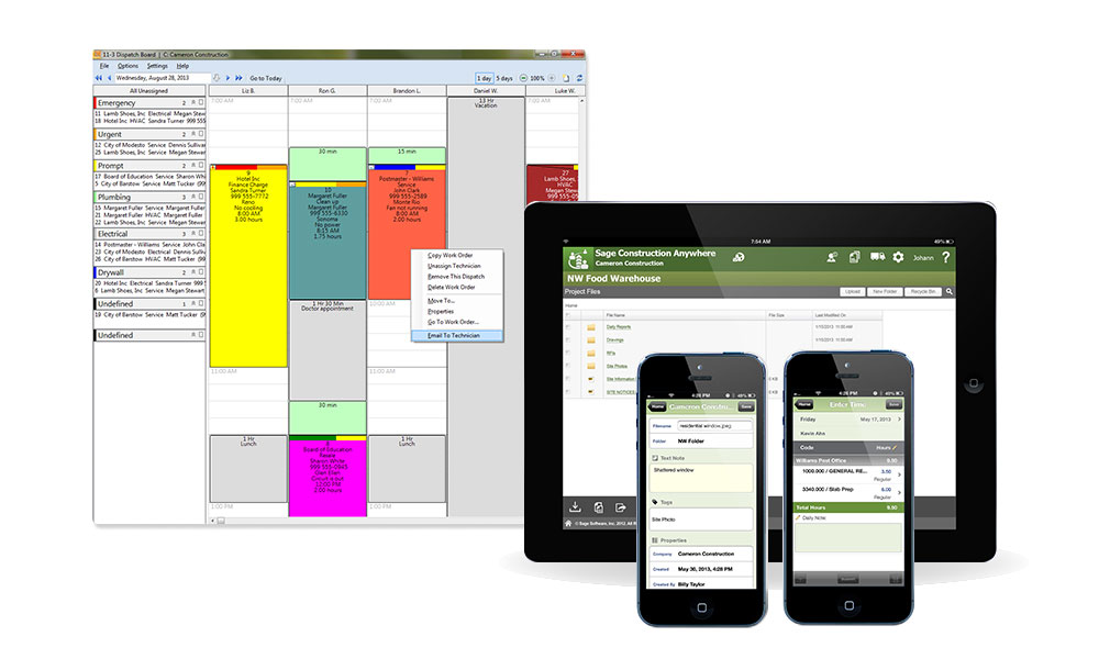 Monitor service work schedules with user-defined color codes showing client, priority, and service location.
