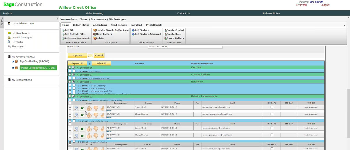 Sage Construction Project Center: Documents > Bid Packages